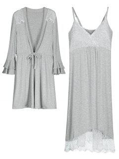 Loungewear Cami Dress With Kimono - Gray 2xl