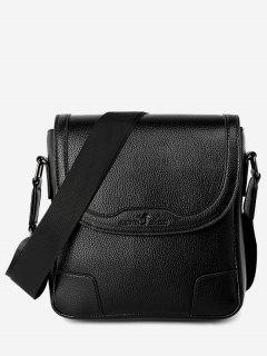 Embossing Stitching Crossbody Bag - Black Vertical