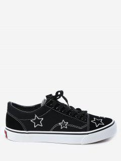 Embroidery Canvas Stars Skate Shoes - Black 36