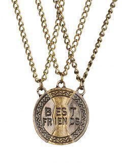 Alloy 3PCS Carving Best Friend Necklace - Golden