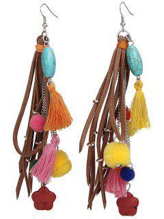Colorful Tassel Turquoise Balls Earrings