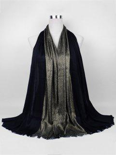 Soft Spun Gold Tone Long Scarf - Black