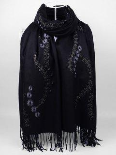 Floral Embroidery Fringed Long Scarf - Black