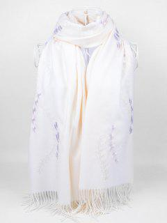 Floral Embroidery Fringed Long Scarf - White
