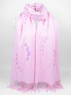 Floral Embroidery Fringed Long Scarf - Light Pink