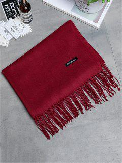 Vintage Faux Cashmere Fringed Long Scarf - Wine Red