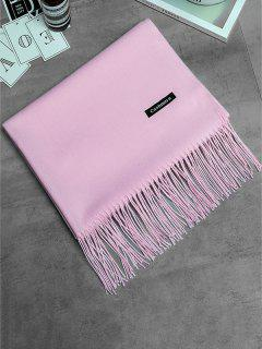 Vintage Faux Cashmere Fringed Long Scarf - Pink