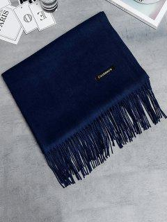 Vintage Faux Cashmere Fringed Long Scarf - Cadetblue