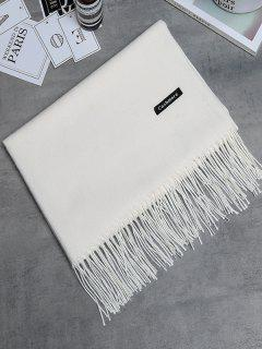 Vintage Faux Cashmere Fringed Long Scarf - Crystal Cream