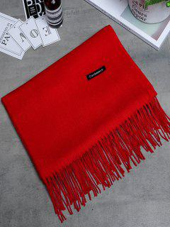 Vintage Faux Cashmere Fringed Long Scarf - Bright Red
