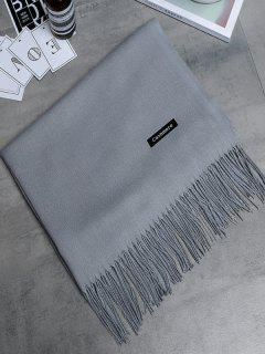 Vintage Faux Cashmere Fringed Long Scarf - Pearl Light Grey