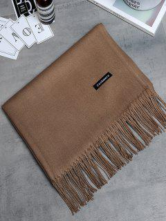 Vintage Faux Cashmere Fringed Long Scarf - Deep Brown