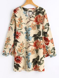 Buttoned Long Sleeve Floral Mini Dress - Apricot M