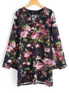 Buttoned Long Sleeve Floral Mini Dress - Black 2xl