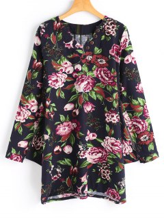 Buttoned Long Sleeve Floral Mini Dress - Black M