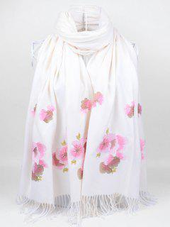 Floral Embroidery Ethinc Style Fringed Scarf - White