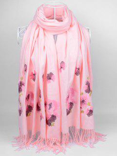 Floral Embroidery Ethinc Style Fringed Scarf - Light Pink