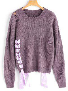 Lace Up Ripped Sweater - Dark Violet