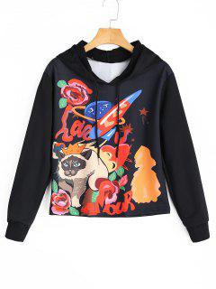 Cartoon Cat Graphic Drawstring Hoodie - Black