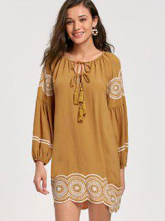 Tassel Embroidered Long Sleeve Dress - Ginger 2xl