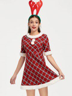 Ugly Christmas Plaid Faux Fur Dress - Red 2xl