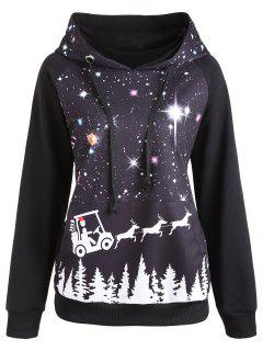 Raglan Sleeve Starry Sky Print Christmas Hoodie - Black M