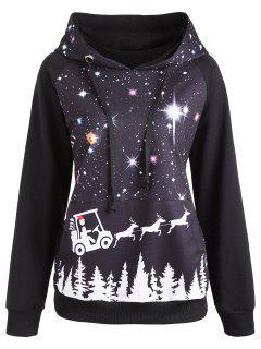 Raglan Sleeve Starry Sky Print Christmas Hoodie - Black 2xl