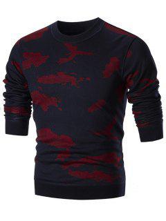 Rundhalsausschnitt Camo Sweater - Rot 3xl