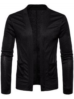 Open Front Knitted Drape Cardigan - Black S