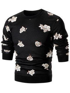 Rose Print Pullover Crew Neck Sweater - Black Xl