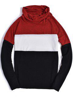 Piles Kragen Farbblock Panel Gestrickte Pullover - Rot 2xl