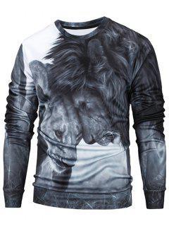Rundhalsausschnitt 3D Lions Print Sweatshirt - Grau 2xl
