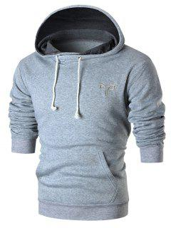 Chest Embroidery Casual Pullover Hoodie - Light Grey S