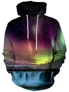 Kangaroo Pocket Waterfall And Aurora Print Hoodie - M