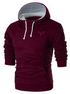 Chest Embroidery Casual Pullover Hoodie - Red M