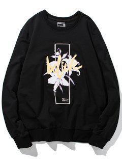 Crew Neck 3D Floral Print Pullover Sweatshirt - Black 4xl