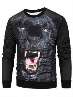 Crew Neck 3D Animal Print Pullover Sweatshirt - Black 2xl