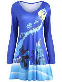 Christmas Long Sleeve Print Mini Swing Dress - Blue 2xl