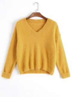 V Neck Destroyed Pullover Sweater - Yellow