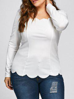 Plus Size Scalloped Square Neck Long Sleeve Top - White 3xl