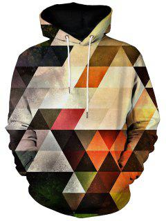 Kangaroo Pocket Vertigo Geometric Print Hoodie - L