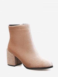 Side Zip Rhinestone Chunky Heel Ankle Boots - Apricot 37