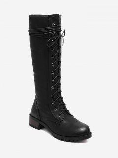 Lace Up Side Zip Mid-calf Boots - Black 38