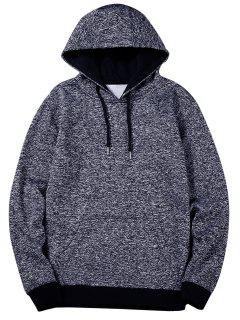 Heathered Casual Pullover Hoodie - Blue L