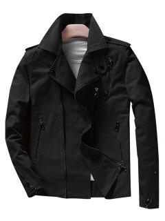 Slim Fit Asymetrical Motocycle Jacket - Black Xl