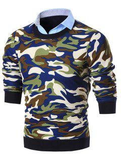 Fake Two Piece Knit Camo Sweater - Blue 3xl