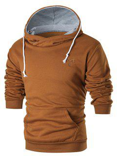 Chest Embroidery Casual Pullover Hoodie - Brown L