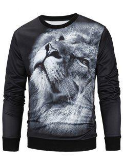 Crew Neck 3D Lion Print Sweatshirt - Black L