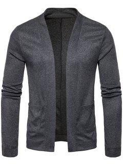 Open Front Knitted Drape Cardigan - Deep Gray M
