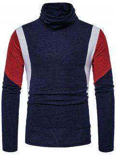 Turtle Neck Slim Fit Color Block Panel Knitted Sweater - Cadetblue L